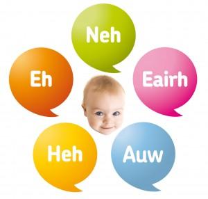 Baby met vijf Dunstan Babytaal geluiden eromheen